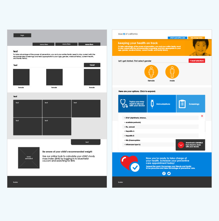 Blue Shield user experience design layout interactive design