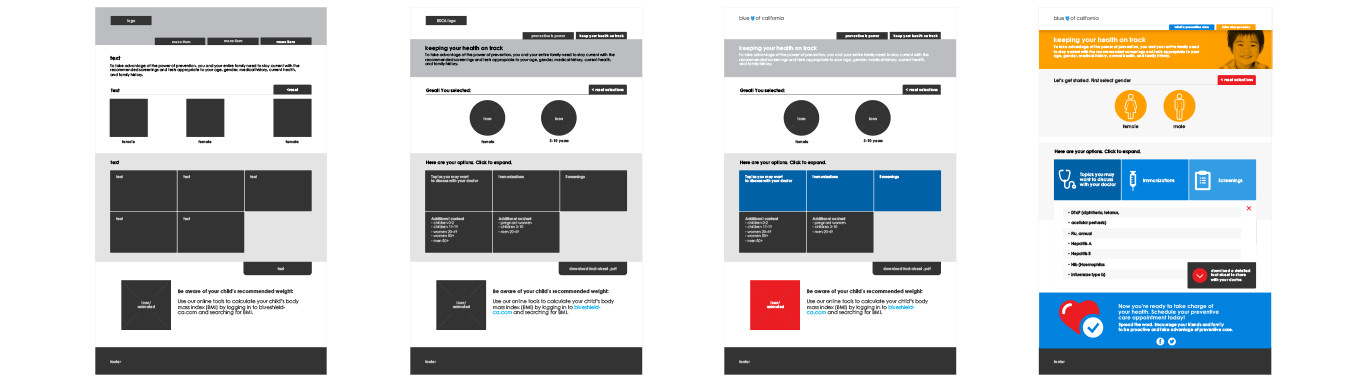 wireframes from interactive microsite for Blue Shield healthcare